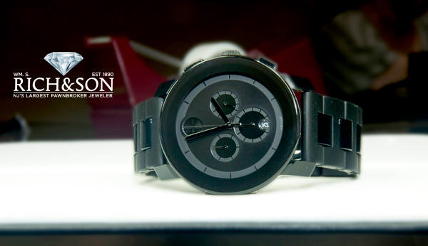 Black and Blue Movado Chronograph Watch for Dad
